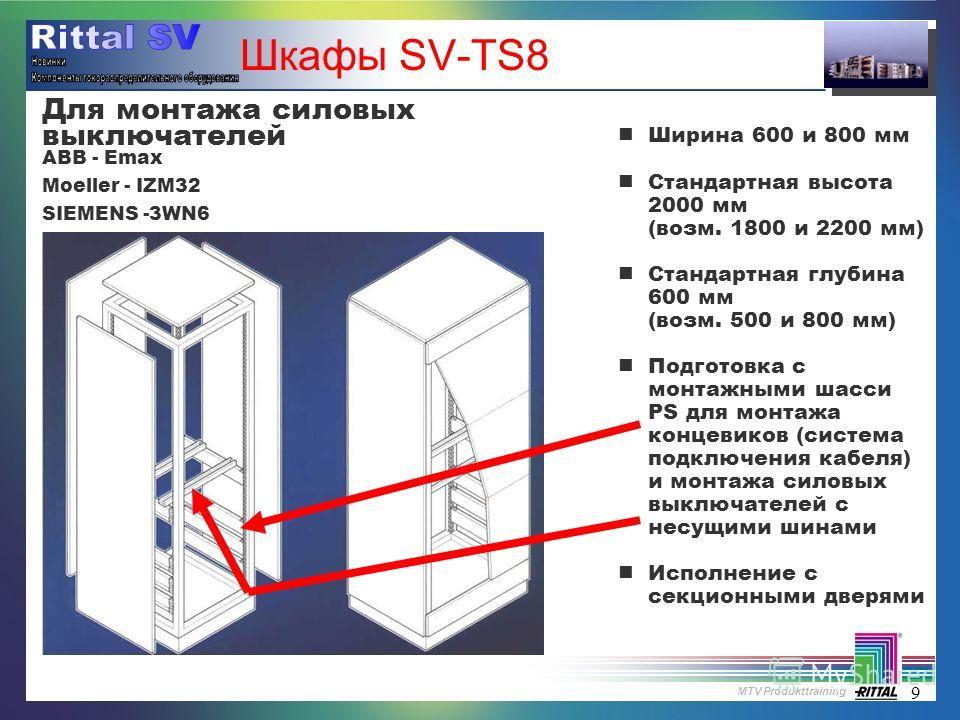 MTV Produkttraining 9 Шкафы SV-TS8 nШирина 600 и 800 мм nСтандартная высота 2000 мм (возм. 1800 и 2200 мм) nСтандартная глубина 600 мм (возм. 500 и 800 мм) nПодготовка с монтажными шасси PS для монтажа концевиков (система подключения кабеля) и монтаж