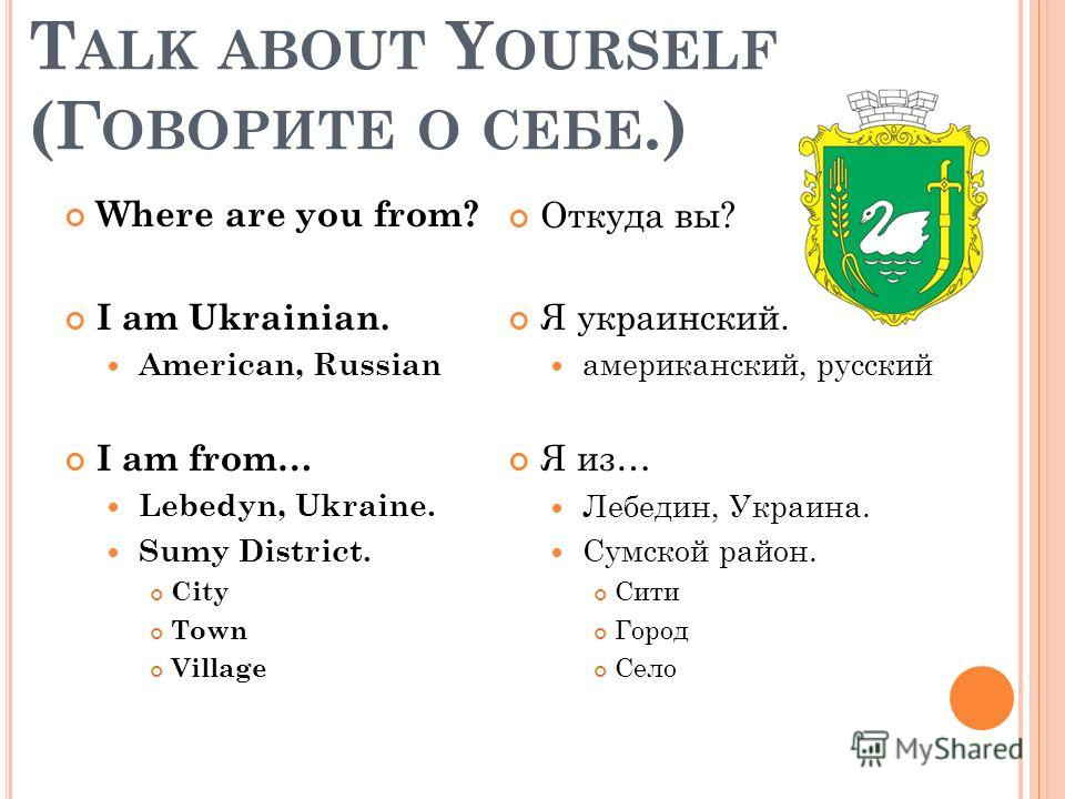 T ALK ABOUT Y OURSELF (Г ОВОРИТЕ О СЕБЕ.) Where are you from? I am Ukrainian. American, Russian I am from… Lebedyn, Ukraine. Sumy District. City Town Village Откуда вы? Я украинский. американский, русский Я из… Лебедин, Украина. Сумской район. Сити Г