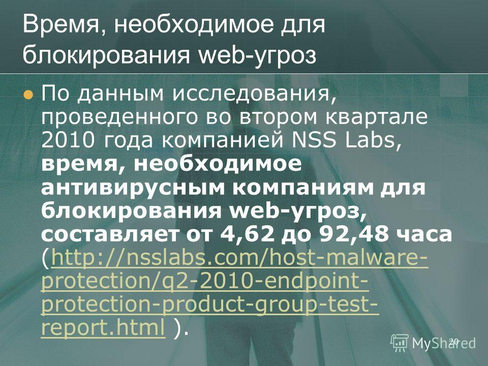 Время, необходимое для блокирования web-угроз По данным исследования, проведенного во втором квартале 2010 года компанией NSS Labs, время, необходимое антивирусным компаниям для блокирования web-угроз, составляет от 4,62 до 92,48 часа (http://nsslabs