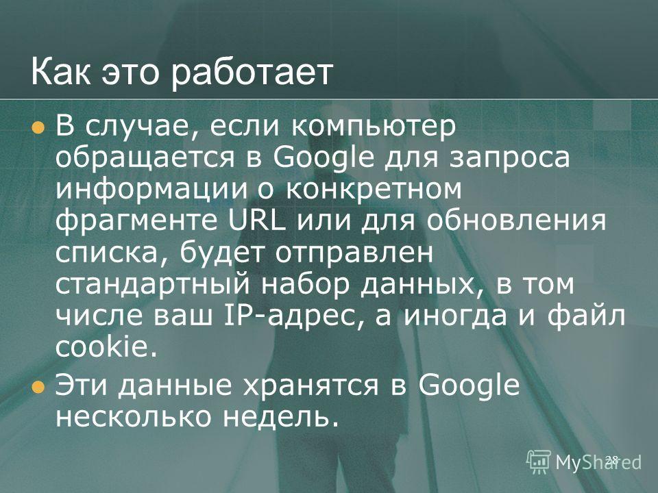 Как это работает В случае, если компьютер обращается в Google для запроса информации о конкретном фрагменте URL или для обновления списка, будет отправлен стандартный набор данных, в том числе ваш IP-адрес, а иногда и файл cookie. Эти данные хранятся