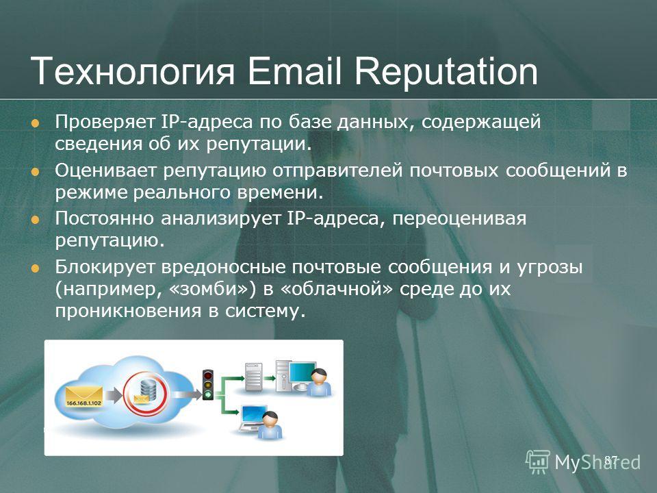 Технология Email Reputation Проверяет IP-адреса по базе данных, содержащей сведения об их репутации. Оценивает репутацию отправителей почтовых сообщений в режиме реального времени. Постоянно анализирует IP-адреса, переоценивая репутацию. Блокирует вр