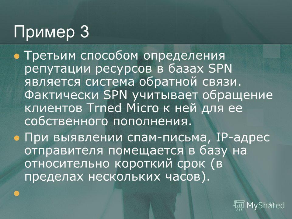 Пример 3 Третьим способом определения репутации ресурсов в базах SPN является система обратной связи. Фактически SPN учитывает обращение клиентов Trned Micro к ней для ее собственного пополнения. При выявлении спам-письма, IP-адрес отправителя помеща
