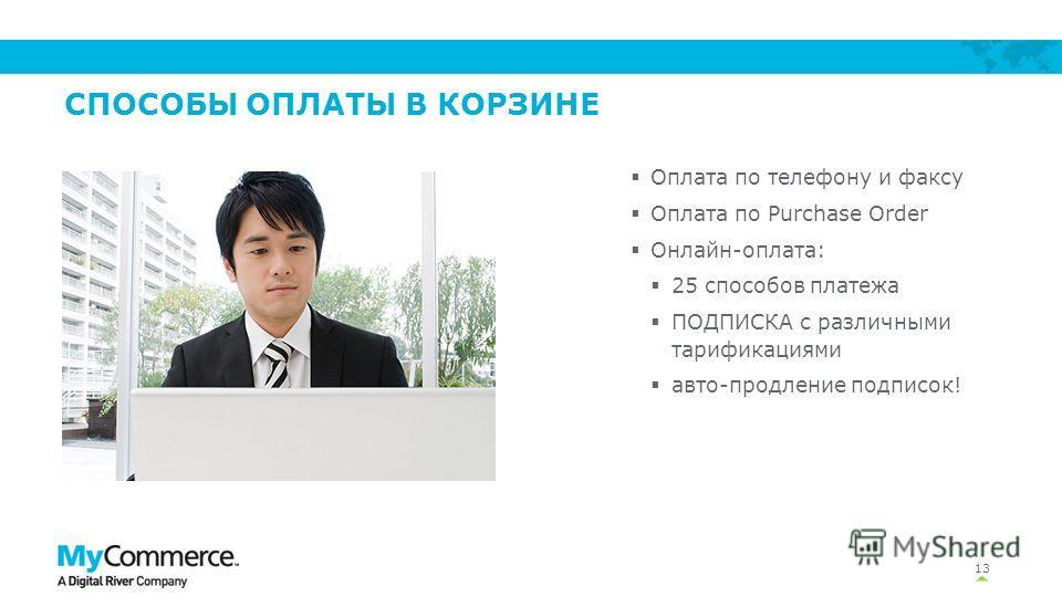 СПОСОБЫ ОПЛАТЫ В КОРЗИНЕ 13 Оплата по телефону и факсу Оплата по Purchase Order Онлайн-оплата: 25 способов платежа ПОДПИСКА с различными тарификациями авто-продление подписок!