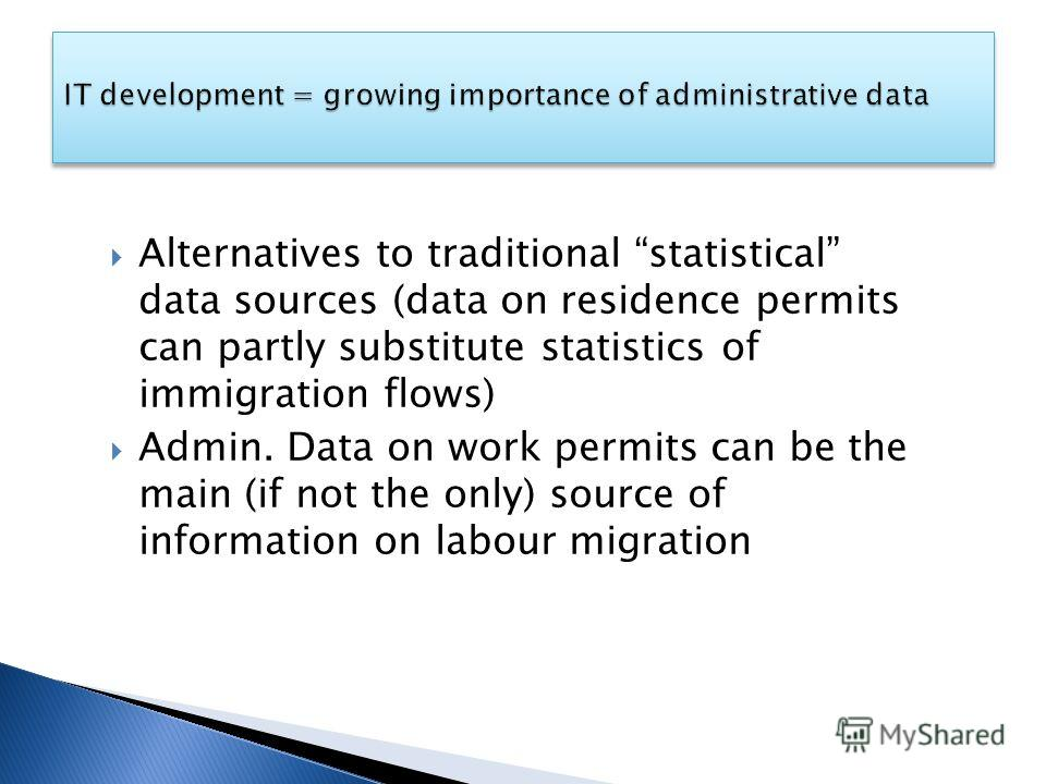 Alternatives to traditional statistical data sources (data on residence permits can partly substitute statistics of immigration flows) Admin. Data on work permits can be the main (if not the only) source of information on labour migration