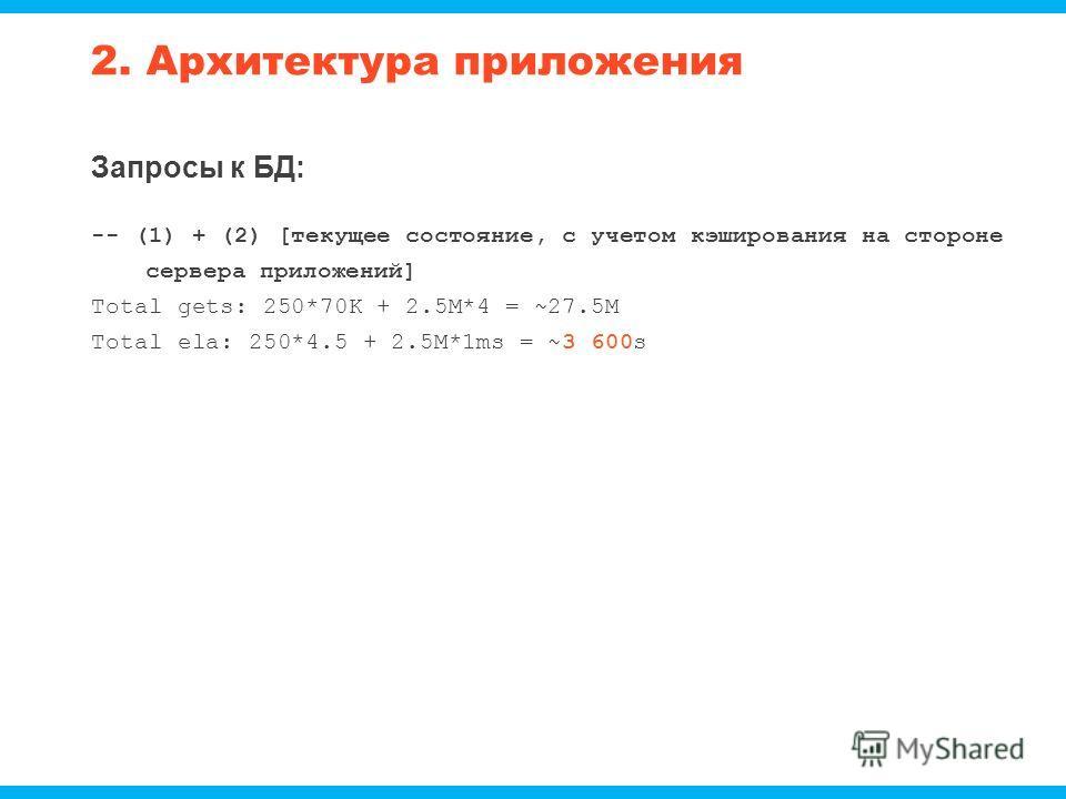 2. Архитектура приложения Запросы к БД: -- (1) + (2) [текущее состояние, с учетом кэширования на стороне сервера приложений] Total gets: 250*70K + 2.5M*4 = ~27.5M Total ela: 250*4.5 + 2.5M*1ms = ~3 600s