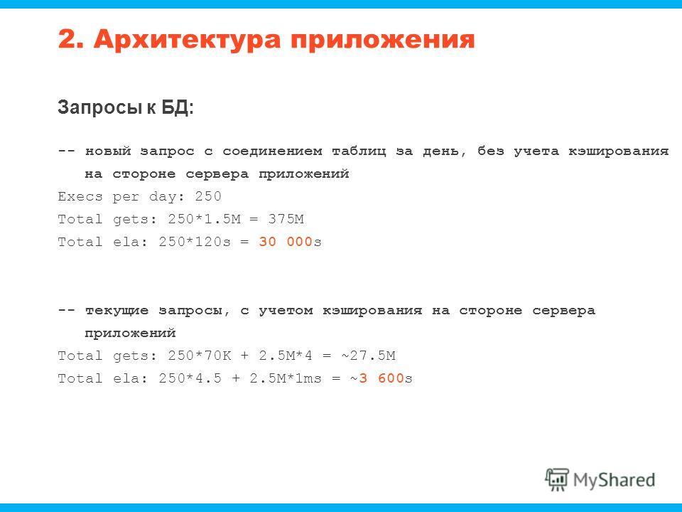 2. Архитектура приложения Запросы к БД: -- новый запрос с соединением таблиц за день, без учета кэширования на стороне сервера приложений Execs per day: 250 Total gets: 250*1.5M = 375M Total ela: 250*120s = 30 000s -- текущие запросы, с учетом кэширо