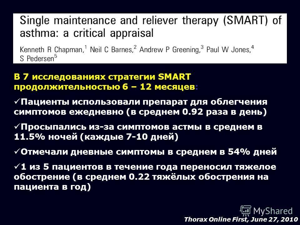 Thorax Online First, June 27, 2010 В 7 исследованиях стратегии SMART продолжительностью 6 – 12 месяцев: Пациенты использовали препарат для облегчения симптомов ежедневно (в среднем 0.92 раза в день) Просыпались из-за симптомов астмы в среднем в 11.5%