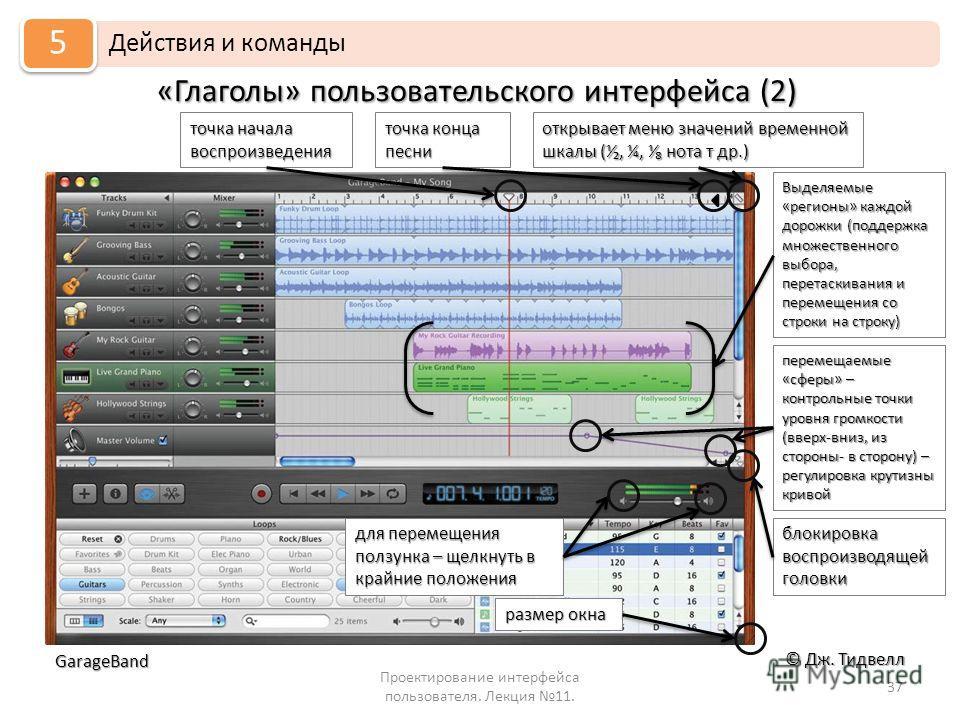 «Глаголы» пользовательского интерфейса (2) Проектирование интерфейса пользователя. Лекция 11. 37 © Дж. Тидвелл Действия и команды 5 GarageBand точка начала воспроизведения точка конца песни открывает меню значений временной шкалы (, ¼, нота т др.) Вы