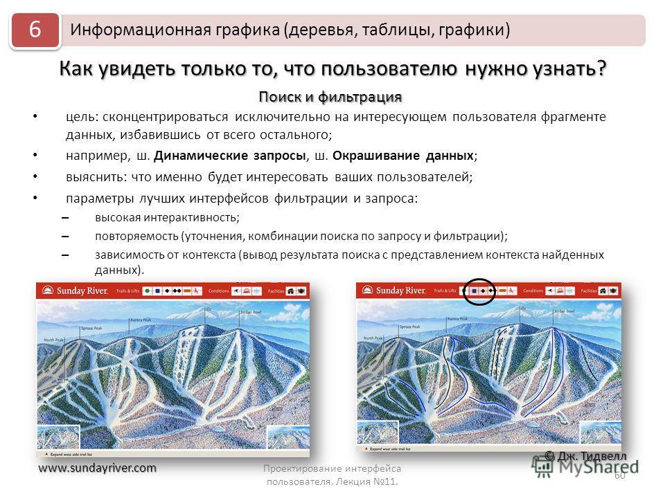 Как увидеть только то, что пользователю нужно узнать? Проектирование интерфейса пользователя. Лекция 11. 60 Информационная графика (деревья, таблицы, графики) 6 цель: сконцентрироваться исключительно на интересующем пользователя фрагменте данных, изб