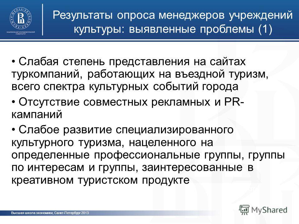 Высшая школа экономики, Санкт-Петербург 2013 Результаты опроса менеджеров учреждений культуры: выявленные проблемы (1) фотфото Слабая степень представления на сайтах туркомпаний, работающих на въездной туризм, всего спектра культурных событий города