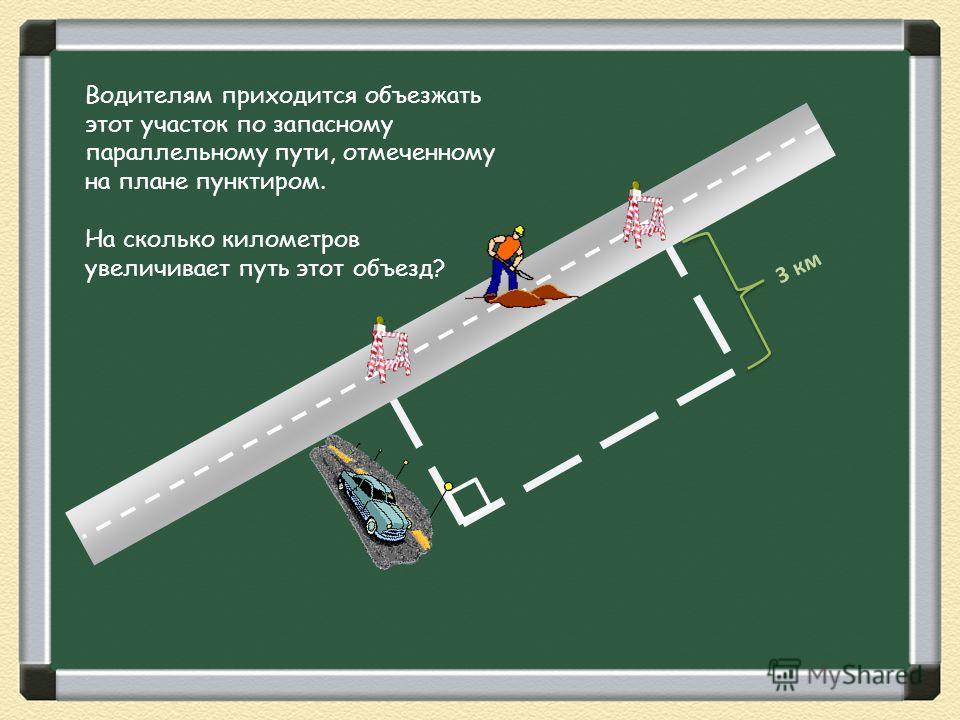 Водителям приходится объезжать этот участок по запасному параллельному пути, отмеченному на плане пунктиром. На сколько километров увеличивает путь этот объезд? 3 км