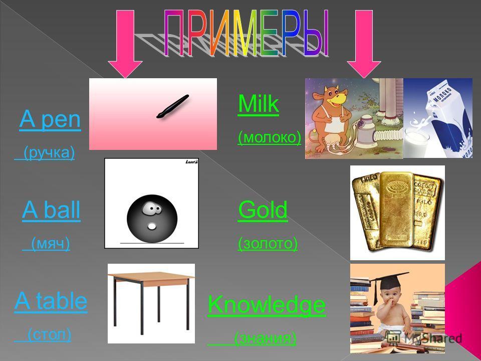 A pen (ручка) A ball (мяч) A table (стол) Milk (молоко) Gold (золото) Knowledge (знания)
