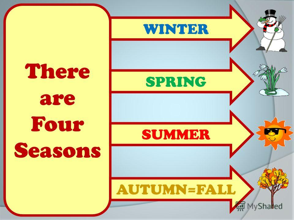 There are Four Seasons WINTER AUTUMN=FALL SPRING SUMMER