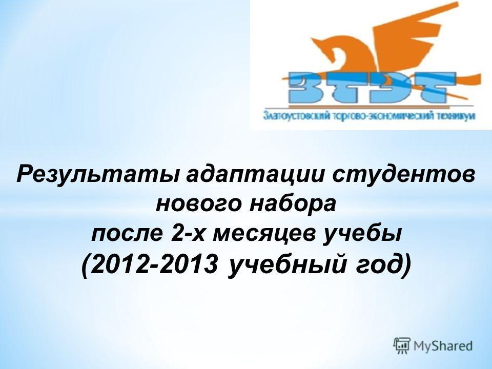 Результаты адаптации студентов нового набора после 2-х месяцев учебы (2012-2013 учебный год)