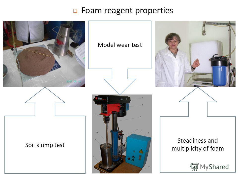 Foam reagent properties Soil slump test Steadiness and multiplicity of foam Model wear test