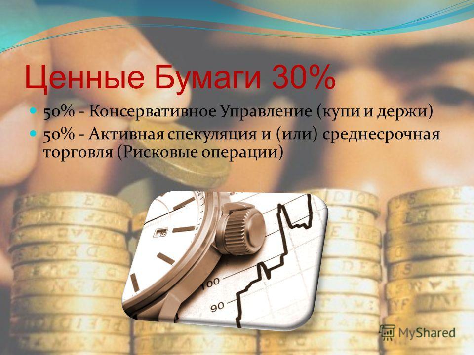 Ценные Бумаги 30% 50% - Консервативное Управление (купи и держи) 50% - Активная спекуляция и (или) среднесрочная торговля (Рисковые операции)