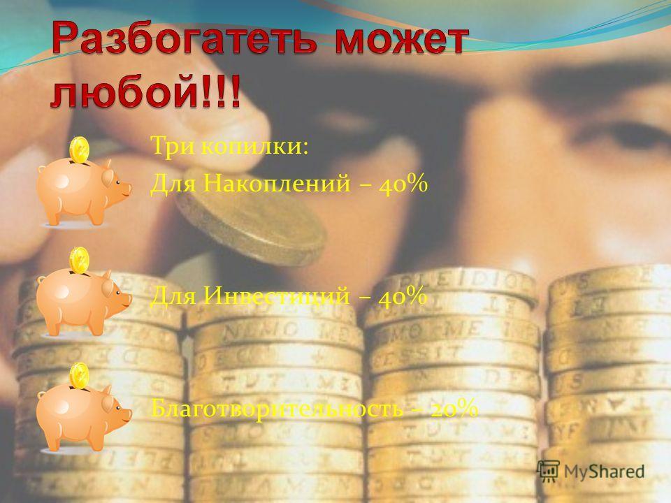 Три копилки: Для Накоплений – 40% Для Инвестиций – 40% Благотворительность – 20%