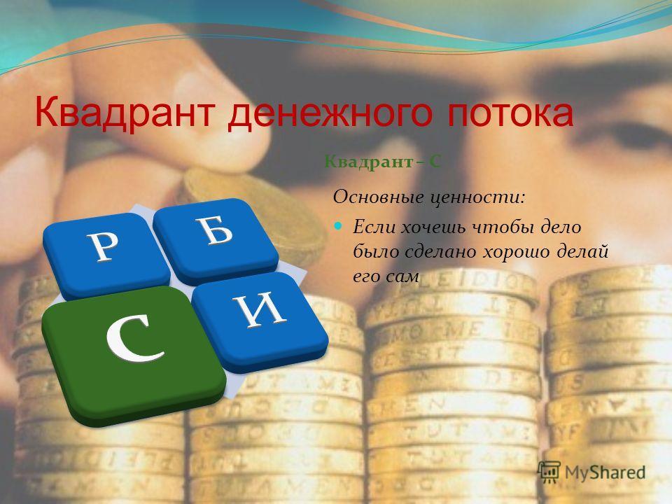 Квадрант денежного потока Квадрант – С Основные ценности: Если хочешь чтобы дело было сделано хорошо делай его сам
