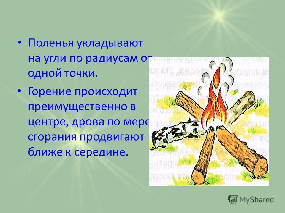 Поленья укладывают на угли по радиусам от одной точки. Горение происходит преимущественно в центре, дрова по мере сгорания продвигают ближе к середине.