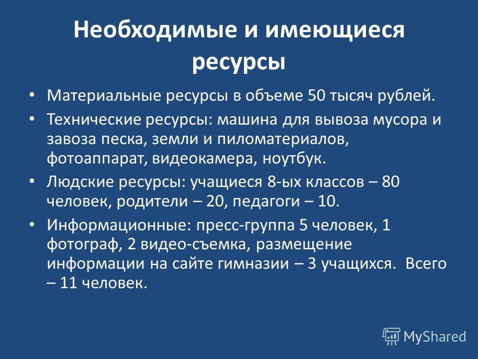 Необходимые и имеющиеся ресурсы Материальные ресурсы в объеме 50 тысяч рублей. Технические ресурсы: машина для вывоза мусора и завоза песка, земли и пиломатериалов, фотоаппарат, видеокамера, ноутбук. Людские ресурсы: учащиеся 8-ых классов – 80 челове