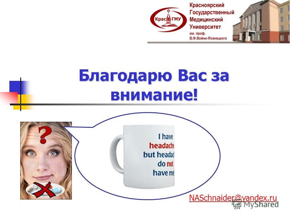 Благодарю Вас за внимание!. NASchnaider@yandex.ru