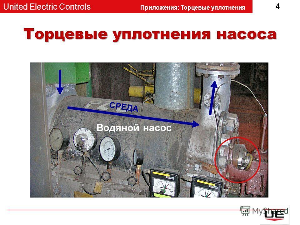 United Electric Controls Приложения: Торцевые уплотнения 4 Торцевые уплотнения насоса Водяной насос СРЕДА