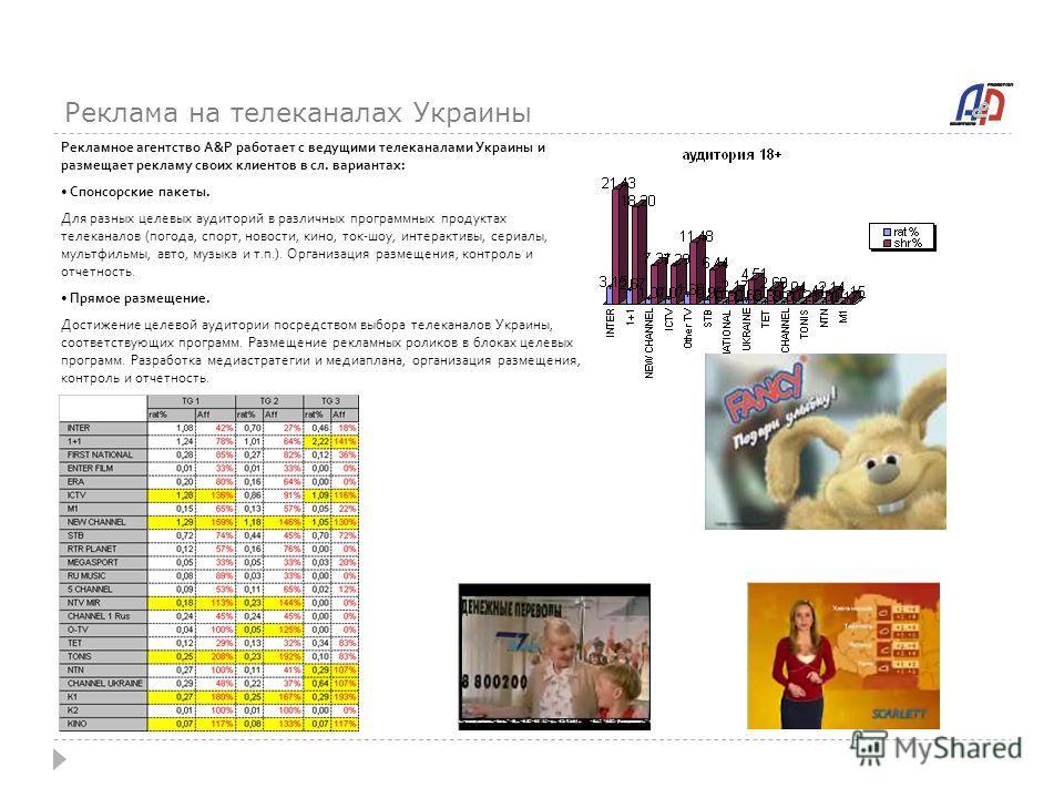 Реклама на телеканалах Украины Рекламное агентство A&P работает с ведущими телеканалами Украины и размещает рекламу своих клиентов в сл. вариантах: Спонсорские пакеты. Для разных целевых аудиторий в различных программных продуктах телеканалов (погода