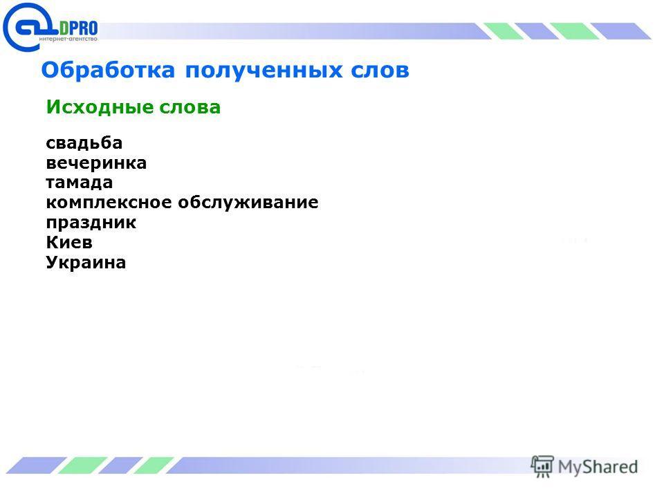 Обработка полученных слов свадьба вечеринка тамада комплексное обслуживание праздник Киев Украина Исходные слова