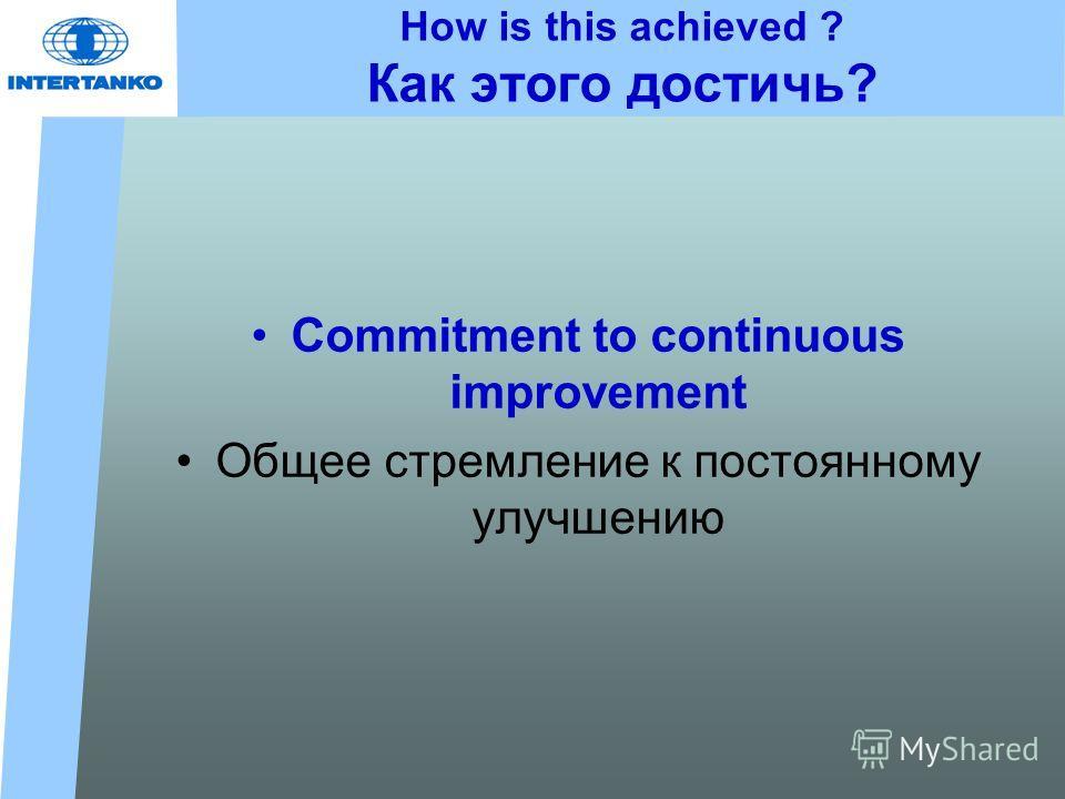How is this achieved ? Как этого достичь? Commitment to continuous improvement Общее стремление к постоянному улучшению