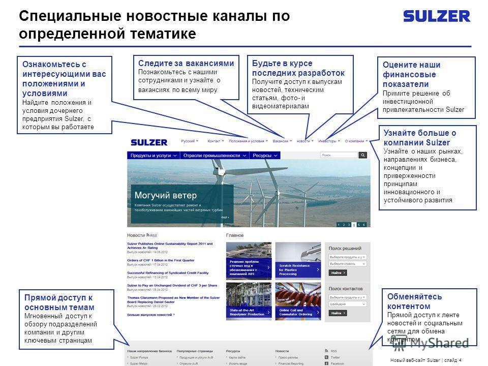 Новый веб-сайт Sulzer | слайд 4 Специальные новостные каналы по определенной тематике Ознакомьтесь с интересующими вас положениями и условиями Найдите положения и условия дочернего предприятия Sulzer, с которым вы работаете Будьте в курсе последних р