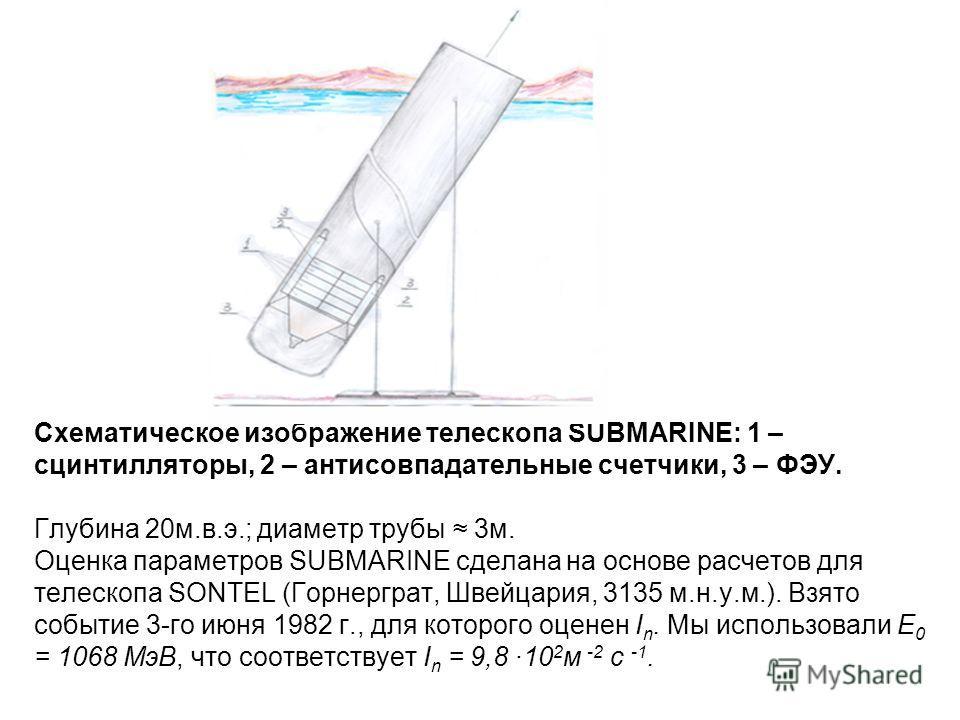 Схематическое изображение телескопа SUBMARINE: 1 – сцинтилляторы, 2 – антисовпадательные счетчики, 3 – ФЭУ. Глубина 20м.в.э.; диаметр трубы 3м. Оценка параметров SUBMARINE сделана на основе расчетов для телескопа SONTEL (Горнерграт, Швейцария, 3135 м