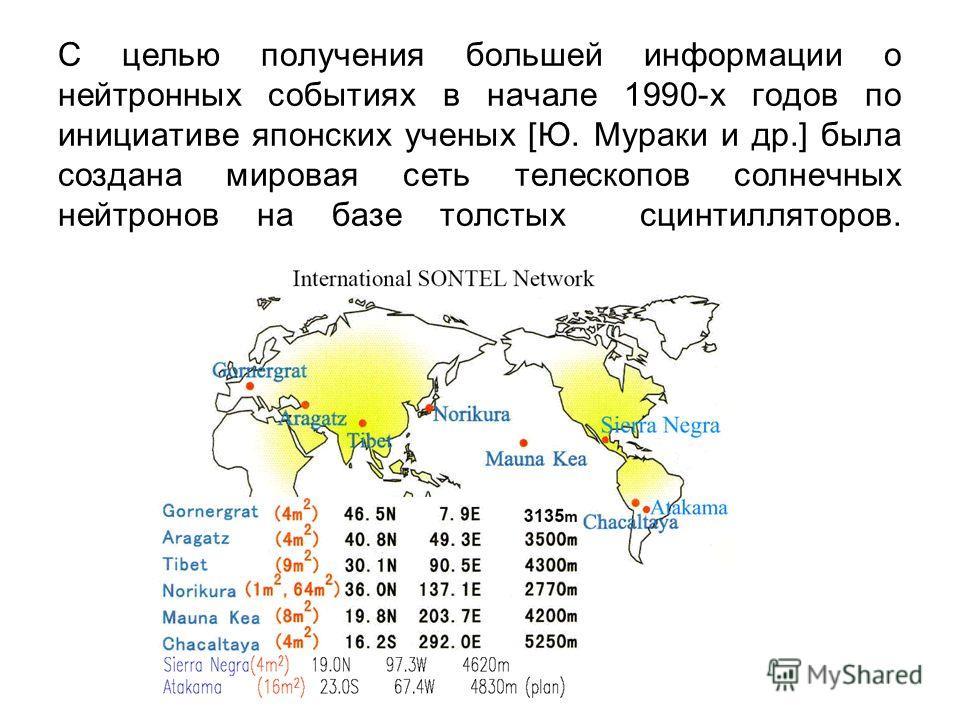 С целью получения большей информации о нейтронных событиях в начале 1990-х годов по инициативе японских ученых [Ю. Мураки и др.] была создана мировая сеть телескопов солнечных нейтронов на базе толстых сцинтилляторов.