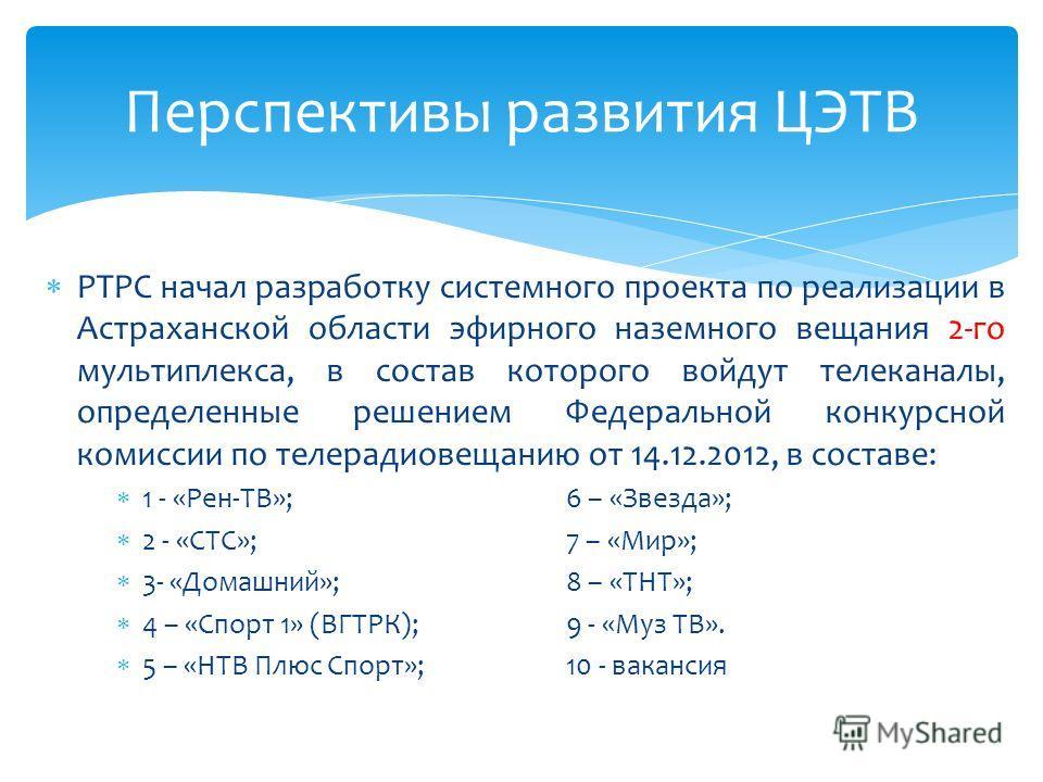 РТРС начал разработку системного проекта по реализации в Астраханской области эфирного наземного вещания 2-го мультиплекса, в состав которого войдут телеканалы, определенные решением Федеральной конкурсной комиссии по телерадиовещанию от 14.12.2012,
