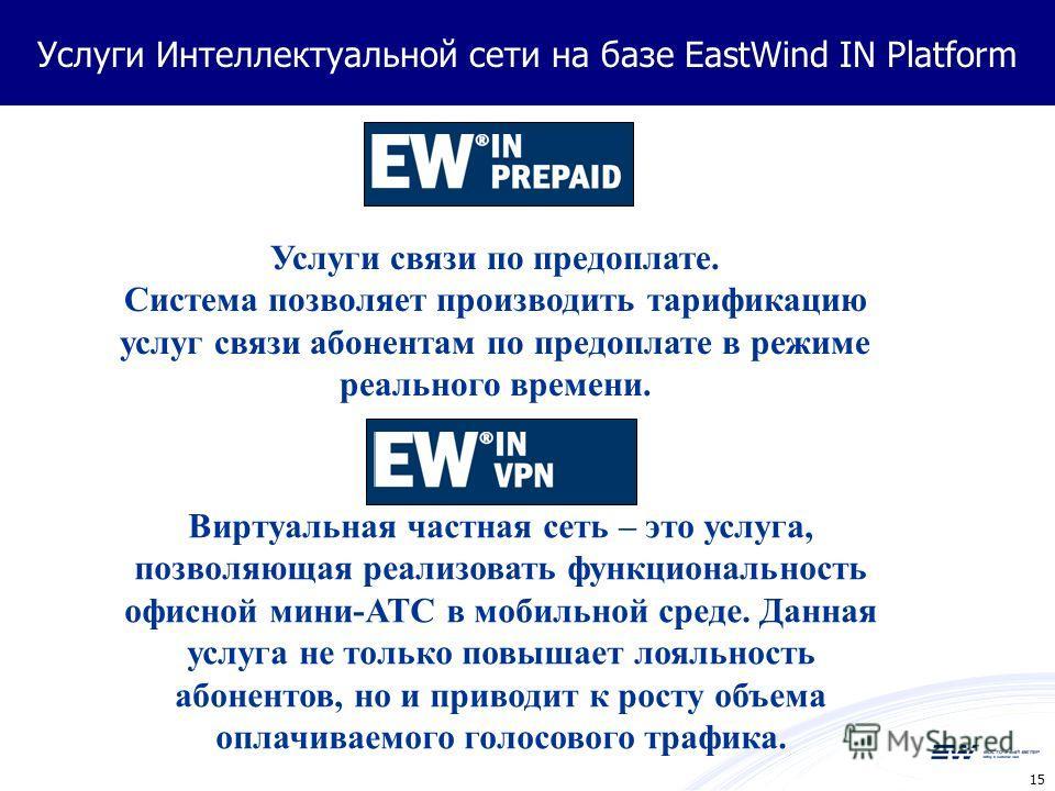 15 Услуги Интеллектуальной сети на базе EastWind IN Platform Услуги связи по предоплате. Система позволяет производить тарификацию услуг связи абонентам по предоплате в режиме реального времени. Виртуальная частная сеть – это услуга, позволяющая реал