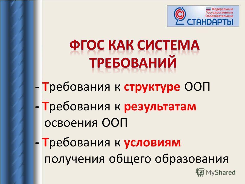 - Требования к структуре ООП - Требования к результатам освоения ООП - Требования к условиям получения общего образования