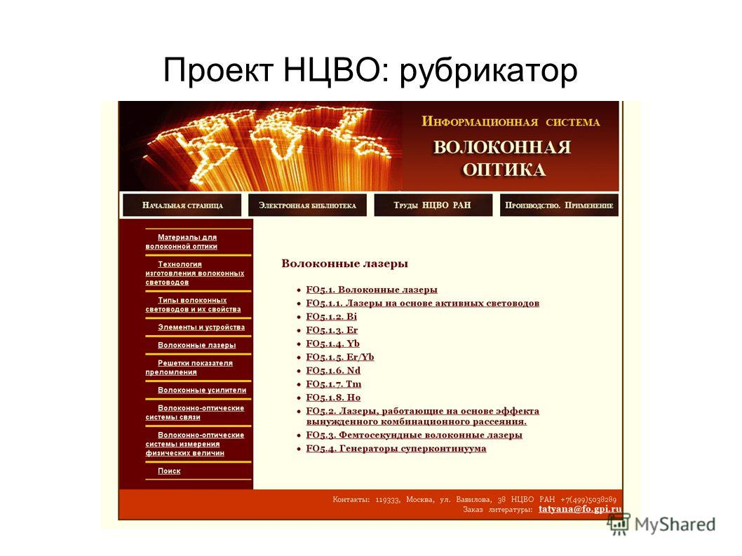 Проект НЦВО: рубрикатор