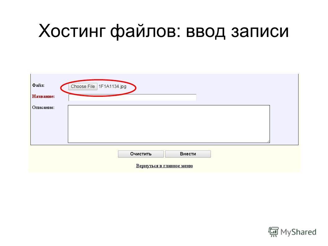 Хостинг файлов: ввод записи