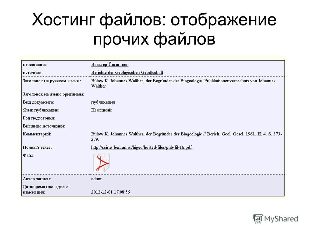 Хостинг файлов: отображение прочих файлов