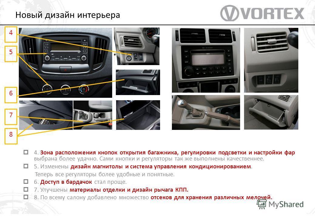5 6 7 4. Зона расположения кнопок открытия багажника, регулировки подсветки и настройки фар выбрана более удачно. Сами кнопки и регуляторы так же выполнены качественнее. 5. Изменены дизайн магнитолы и система управления кондиционированием. Теперь все