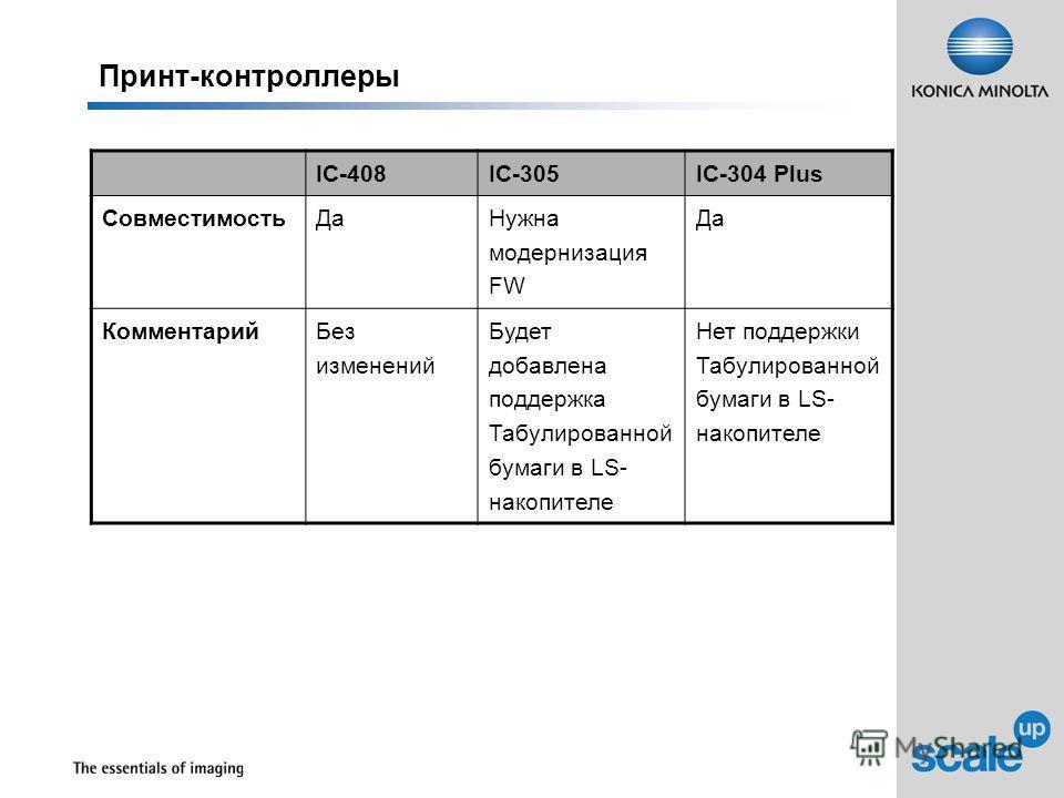 Принт-контроллеры IC-408IC-305IC-304 Plus Совместимость ДаНужна модернизация FW Да КомментарийБез изменений Будет добавлена поддержка Табулированной бумаги в LS- накопителе Нет поддержки Табулированной бумаги в LS- накопителе