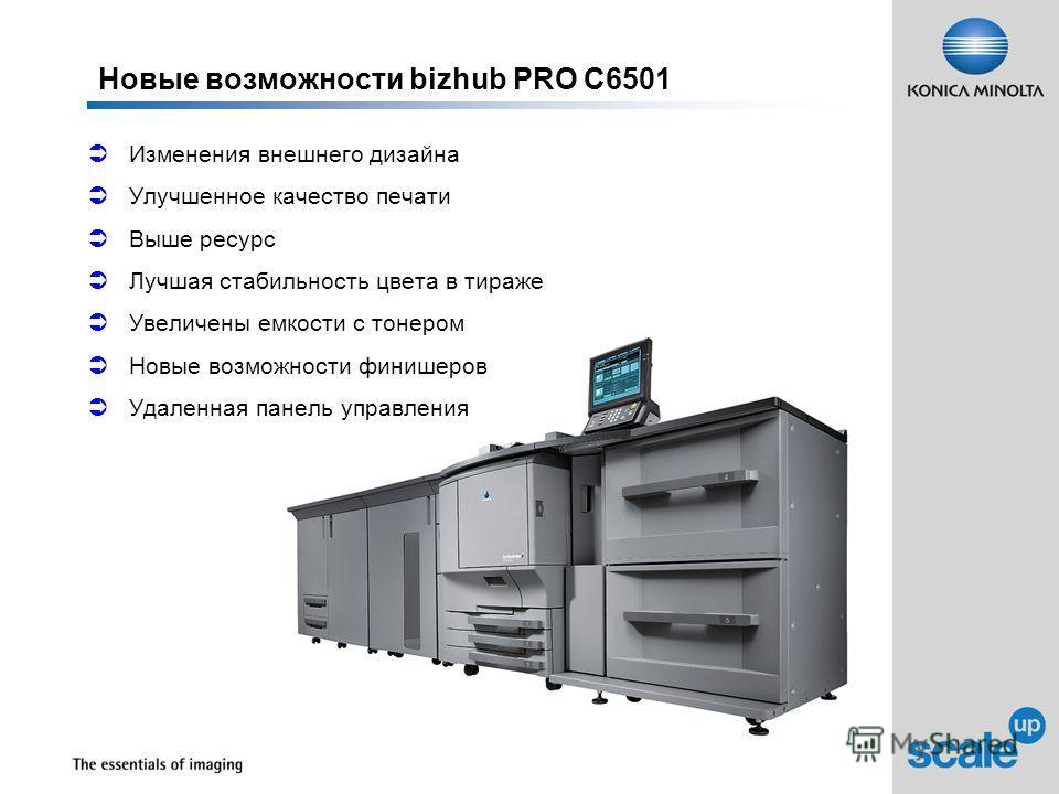Новые возможности bizhub PRO C6501 Изменения внешнего дизайна Улучшенное качество печати Выше ресурс Лучшая стабильность цвета в тираже Увеличены емкости с тонером Новые возможности финишеров Удаленная панель управления