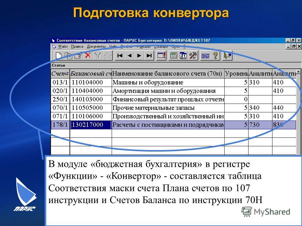 24 Подготовка конвертора В модуле «бюджетная бухгалтерия» в регистре «Функции» - «Конвертор» - составляется таблица Соответствия маски счета Плана счетов по 107 инструкции и Счетов Баланса по инструкции 70Н
