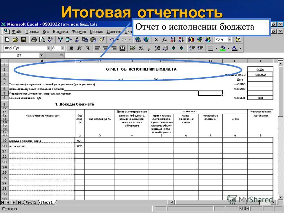 49 Итоговая отчетность Отчет о исполнении бюджета