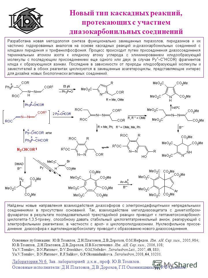 Новый тип каскадных реакций, протекающих с участием диазокарбонильных соединений Разработана новая методология синтеза функционально замещенных пиразолов, пиридазинов и их частично гидрированных аналогов на основе каскадных реакций -диазокарбонильных