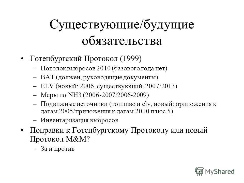 Существующие/будущие обязательства Готенбургский Протокол (1999) –Потолок выбросов 2010 (базового года нет) –BAT (должен, руководящие документы) –ELV (новый: 2006, существующий: 2007/2013) –Меры по NH3 (2006-2007/2006-2009) –Подвижные источники (топл
