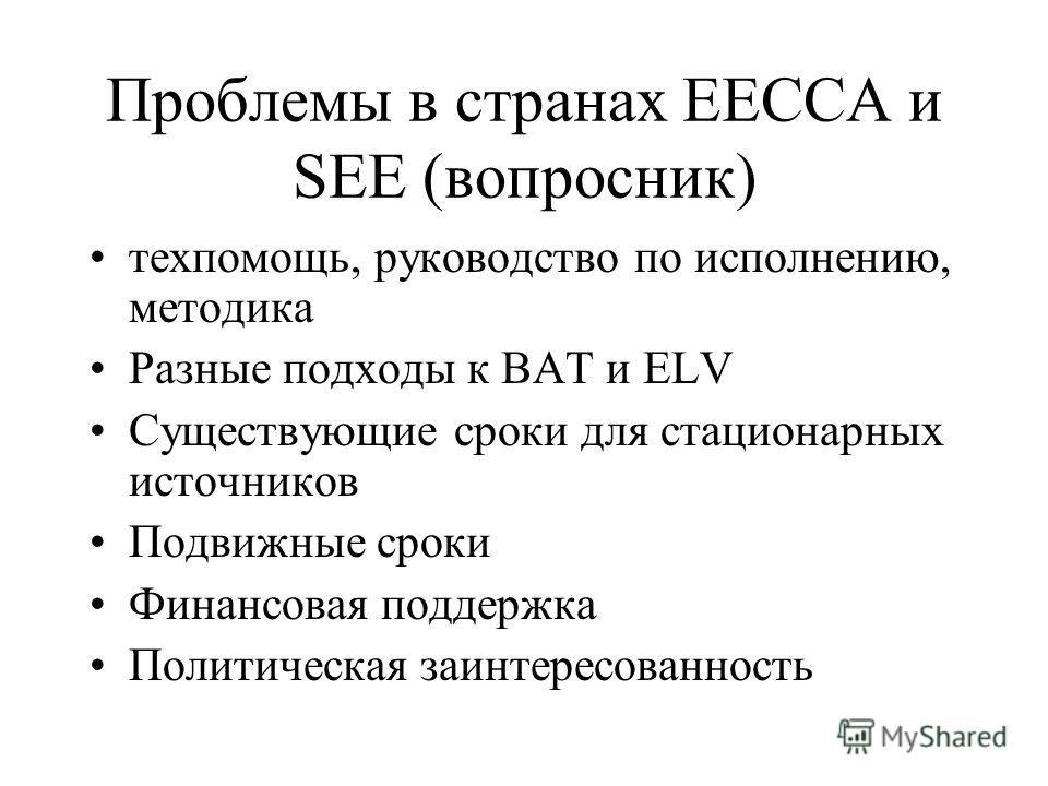 Проблемы в странах EECCA и SEE (вопросник) техпомощь, руководство по исполнению, методика Разные подходы к BAT и ELV Существующие сроки для стационарных источников Подвижные сроки Финансовая поддержка Политическая заинтересованность