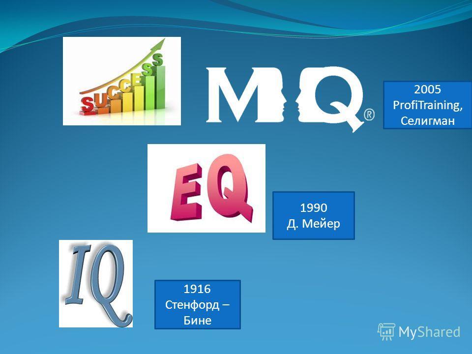2005 ProfiTraining, Селигман 1990 Д. Мейер 1916 Стенфорд – Бине