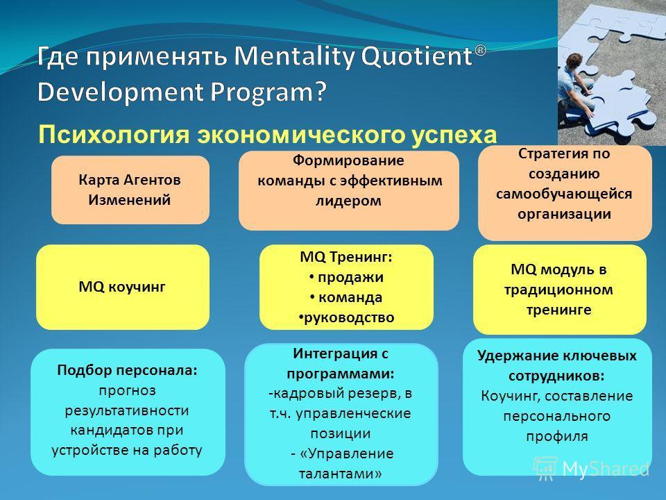 Психология экономического успеха Подбор персонала: прогноз результативности кандидатов при устройстве на работу MQ модуль в традиционном тренинге Интеграция с программами: -кадровый резерв, в т.ч. управленческие позиции - «Управление талантами» Форми