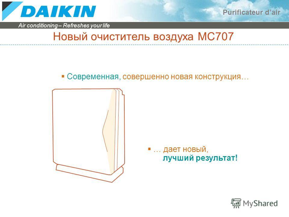 Air conditioning – Refreshes your life Purificateur dair Новый очиститель воздуха MC707 Современная, совершенно новая конструкция… … дает новый, лучший результат!