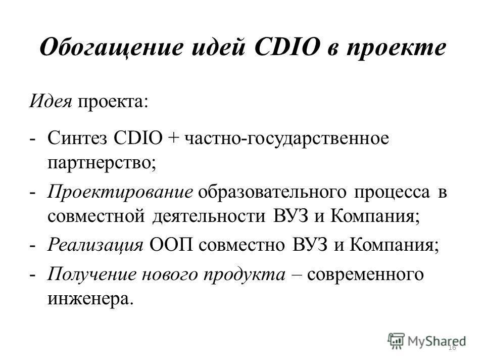 Обогащение идей CDIO в проекте Идея проекта: -Синтез CDIO + частно-государственное партнерство; -Проектирование образовательного процесса в совместной деятельности ВУЗ и Компания; -Реализация ООП совместно ВУЗ и Компания; -Получение нового продукта –